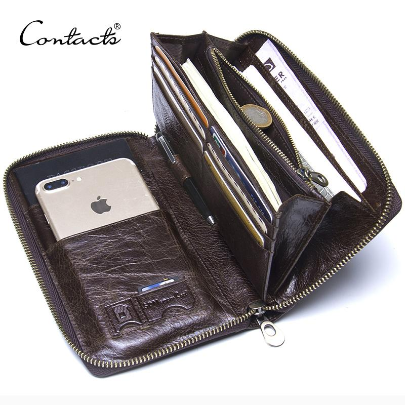 200176bad4fa Genuine Leather Men Clutch Wallet Brand Male Card Holder Long Zipper Around  Travel Purse With Passport Holder 6.5 Phone Case