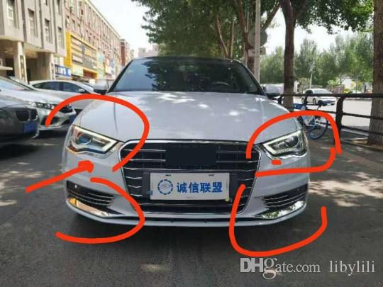 Car styling front fog lamp frame modified head fog light decoration ring stainless steel Stickers For Audi A3 8V 2014-2017