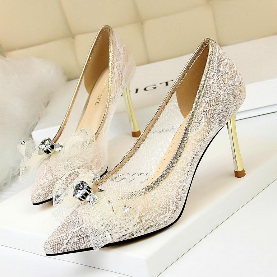9aa482f3575b6 Dress Fashion Women S Shoes 2019 New Ladies High Heels Metal With Stiletto  Pointed Mesh Reticulated Lace Rhinestone Bow Single Shoes 1 Driving Shoes  Cheap ...