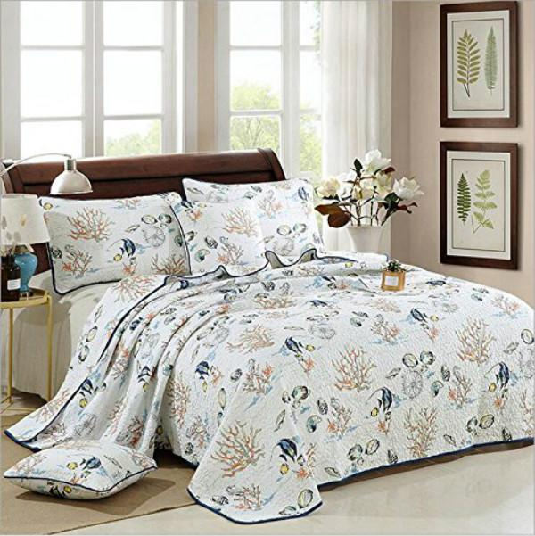 WINLIFE Bedspread King 100 Cotton Seashells Quilted Bedspread