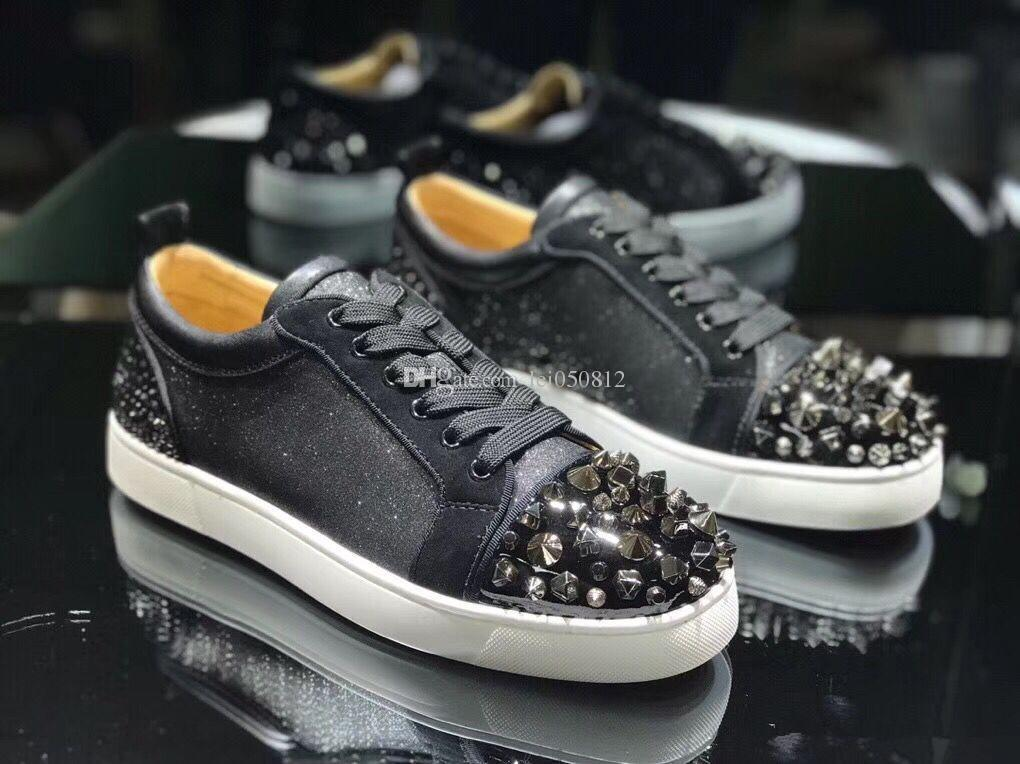 Perfect Quality Men Women Strass/ Mix Spikes Low Top Luxury designer brand mens Red Bottom Skateboarding Shoes With Box,Dust Bag