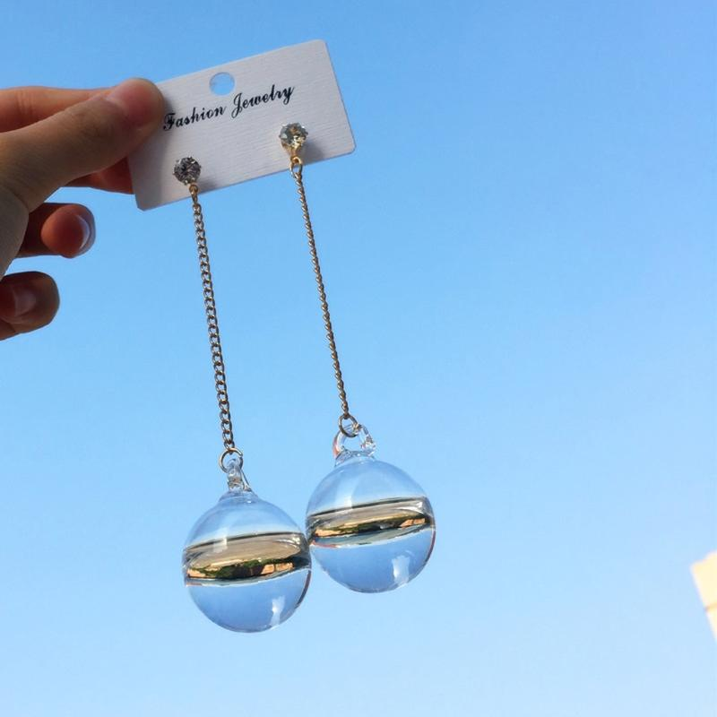 Shiny Transparent Bubble Ball Glass Water Inside Drop Pendant Earrings For Women