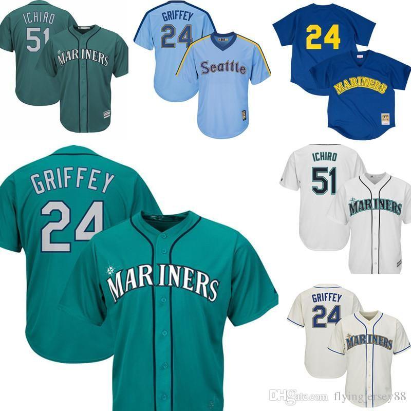 watch f9aaf e8c25 24 Ken Griffey Jr. 51 Ichiro Suzuki Mariners Jersey Mens Seattle Mariner  Embroidery Baseball Jerseys Cheap wholesale M-XXXL