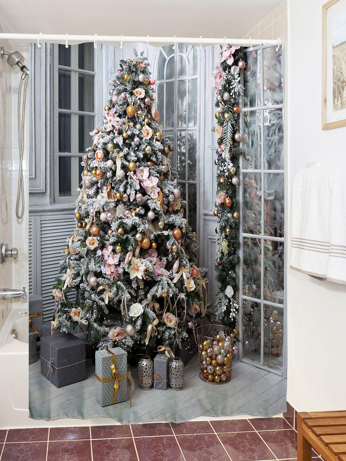 2018 Christmas Bath Shower Curtain Tree Gift Print Waterproof Bath