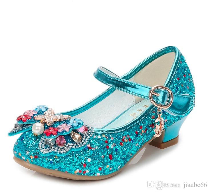 brand new 9ab59 ae653 Glitter Kinder Billig Mädchen High Heels Schuhe Für Kinder Kinder  Prinzessin Sandalen Krawattenknoten Baby Mädchen Mädchen Schuhe Für Hochzeit