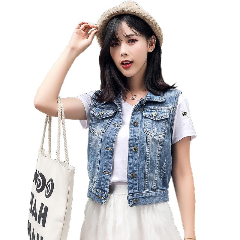 0d7cb679c199 2019 Casual Korean Style Denim Vest Women 2018 Summer Plus Size Waistcoat  Pockets Sleeveless Jeans Jacket Colete Feminino Chaleco From Dufflecoat, ...