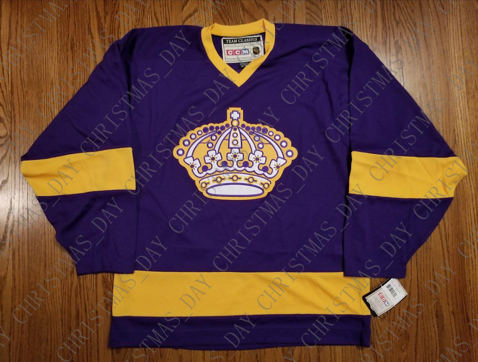 newest 1e81d cabc0 Cheap custom Los Angeles Kings Vintage CCM Jersey Purple NEW Stitched Retro  Hockey Jersey Customize any name number XS-5XL