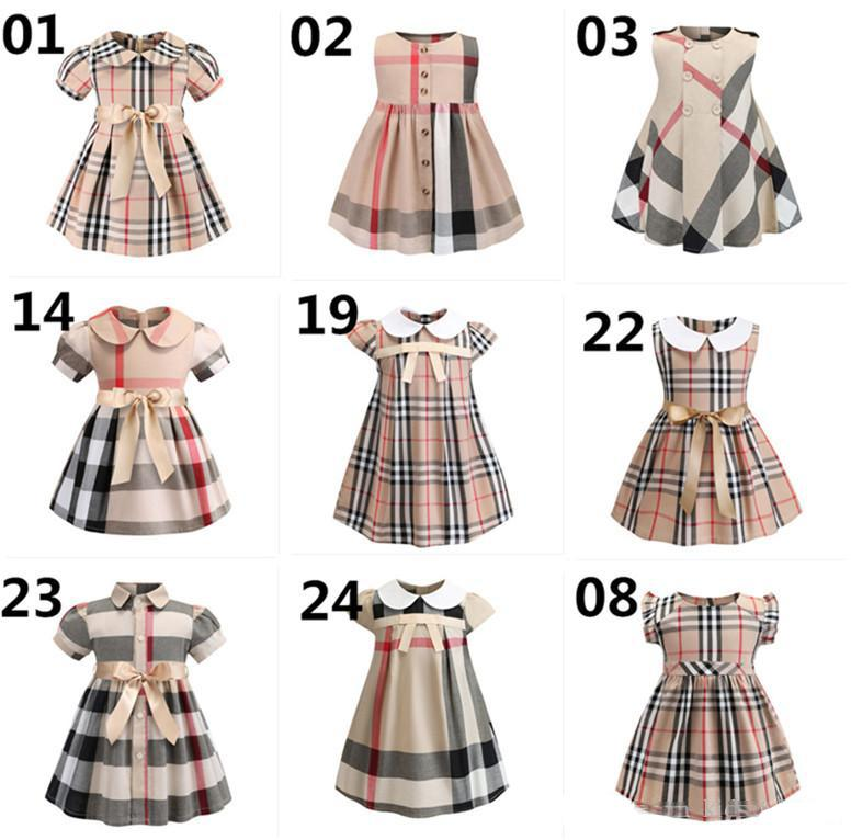 25 Styles Baby Girls Plaid Dress 2019 New Styles Kids Girls Cute Doll Collar Short Sleeve Plaid Bow Dresses Fashion Dress B11