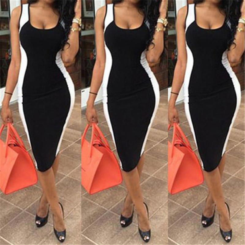 Sexy Women Bodycon Dress Sleeveless Black And White Patchwork Fashion Low Cute Package Hip Dress Sexy Club Wear For Women designer clothes