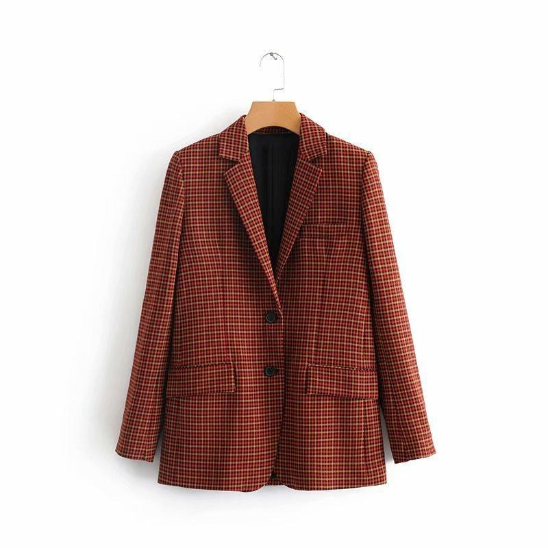 fashionTjnz. Clothes Autumn Two Grain Buckle Lattice Women's Style Suit Loose Coat 2880