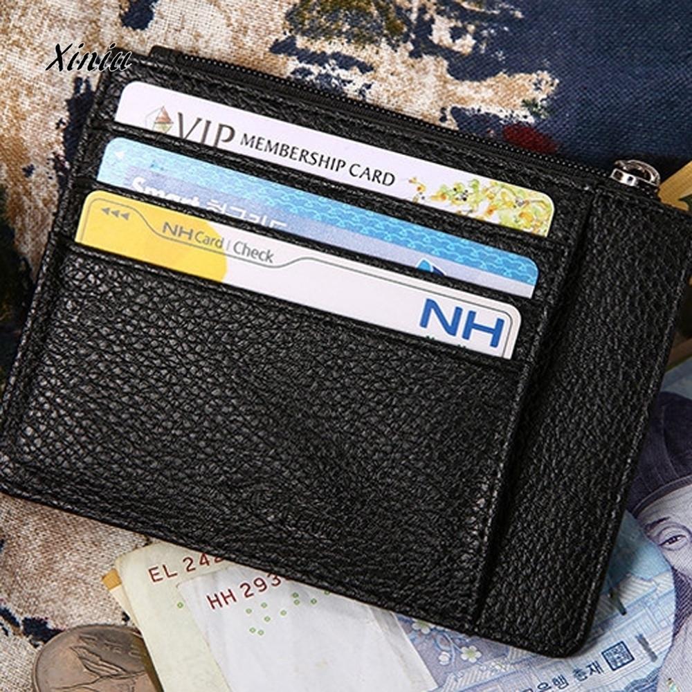 ca4a951df715 Wallet Slim Money Bag Credit Card Holder Id Business Mens Leather Thin Card  Case Slim Wallet Men Mini Coin Pocket Black