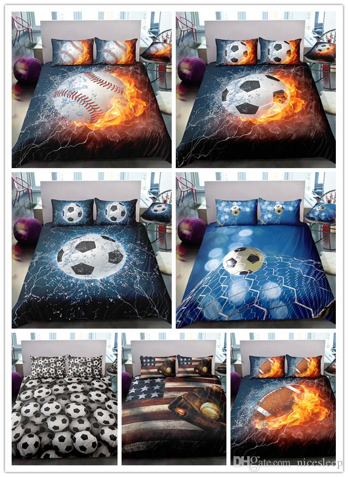 3D Fire Football/ baseball/ basketball Printing sports bedding sets with pillowcases