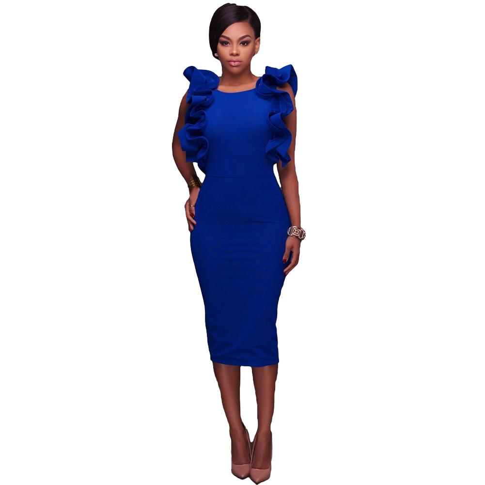 Acquista 2019 New Fashion Sexy Donna Midi Dress Solid Ruffle Girocollo Senza  Maniche Aperto Indietro A Vita Alta Split Elegante Bodycon One Piece A   31.62 ... 87384acf89f