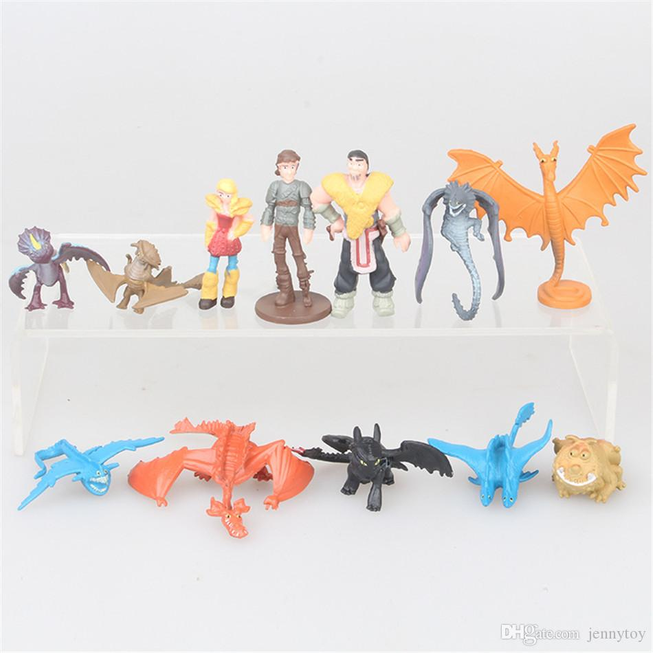 12pcs/set How To Train Your Dragon 3 Action Figures Toys Toothless Night Fury Skull Gronckle Deadly Nadder Dragon PVC Figures kids collectio