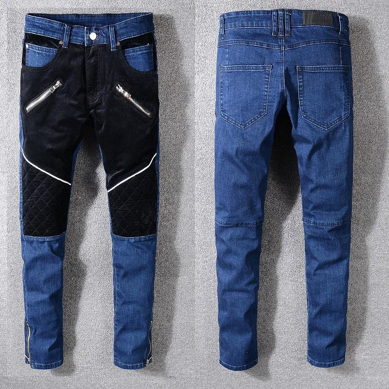 7333f28bd944 Mens Designer Jeans Long Pants Patchwork Zipper Blue Color High ...
