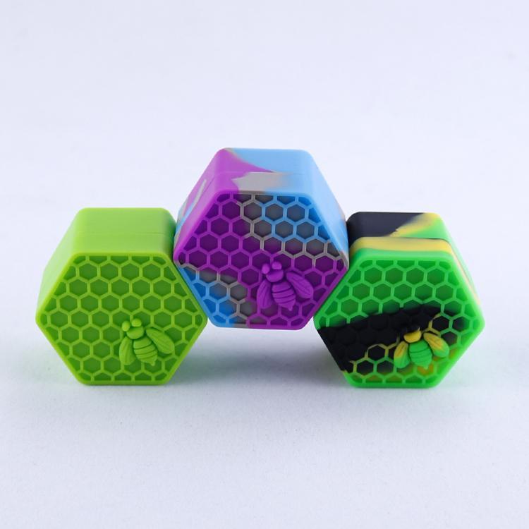 Безстрекивые восковые контейнеры с пчелкой 26 мл шестиугольник с шестиугольниками медовые пчелиные силиконовые контейнерные пищевые банки банки для хранения инструментов для хранения носителя для испарения
