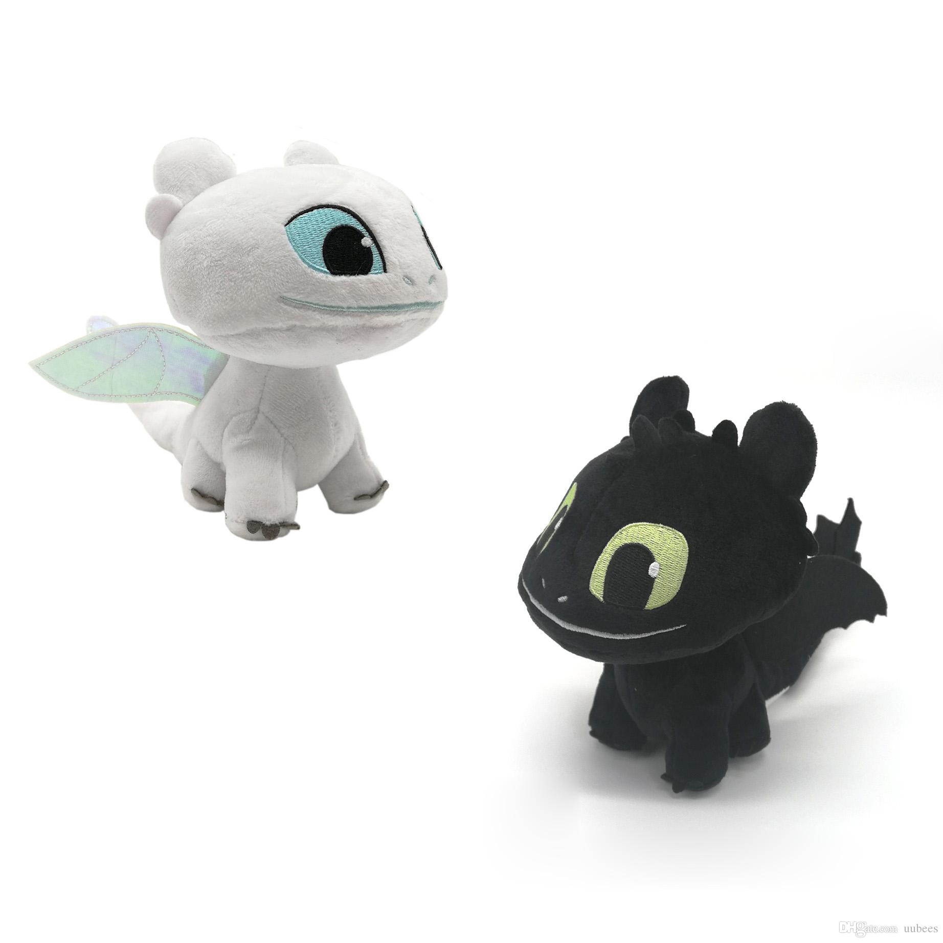 EMS #1 Toothless Dragon Light Fury Night Fury 18CM Plush Doll Stuffed Best  Gift Soft Toy