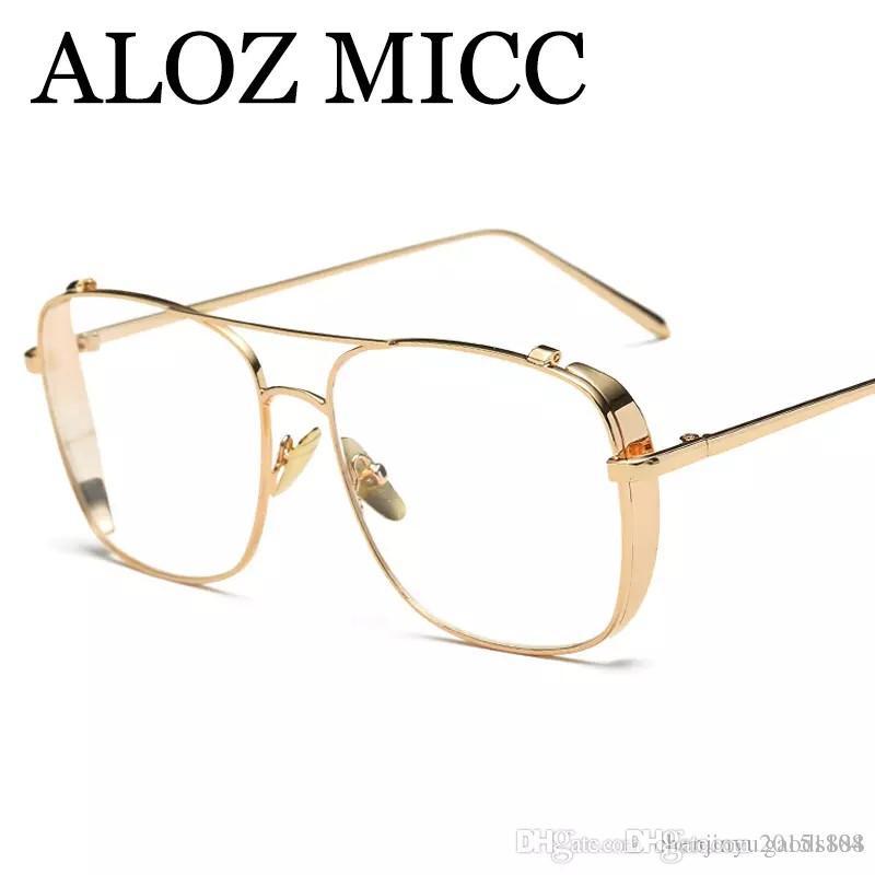 Compre ALOZ MICC Los Hombres Más Nuevos Gafas De Marco Mujeres Oro Claro Anteojos  Diseñador De La Marca Marco De Metal Marco De Gafas De Las Señoras 2018 ... 8fcd26ea731c
