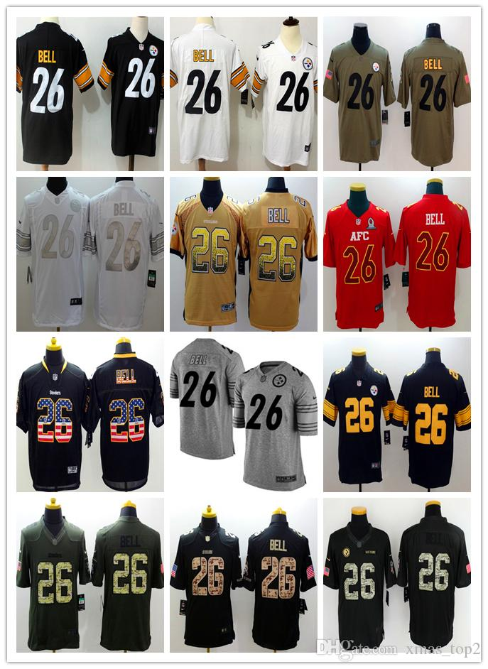 f095d69a309 2019 New Mens 26 Le Veon Bell Pittsburgh Jerseys Steelers Football Jerseys  100% Stitched Embroidery Le Veon Bell Color Rush Footba Bride And Groom  Shirts ...