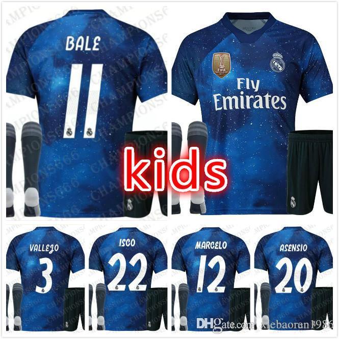 quality design d6e0a f29a3 2019 Kids kit Real madrid jerseys Limited Edition blue18/19 EA Sports #10  MODRIC #12 MARCELO football shirts kids soccer jerseys shirt+pant