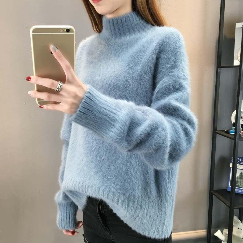 Turtleneck Mohair Sweater Mulheres 2019 Outono Inverno Roupas Mulheres pulôver Robe Puxe Femme Hiver solto Streetwear Jumper Sweater