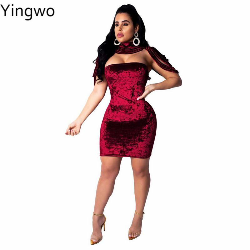 a9af71fe6d Black Red Velvet Club Wear Bodycon Dress Sexy Off Shoulder Strapless  Package Hips Mini Dresses With Halter Cut Out Straps Rope Buy Dresses  Online Evening ...