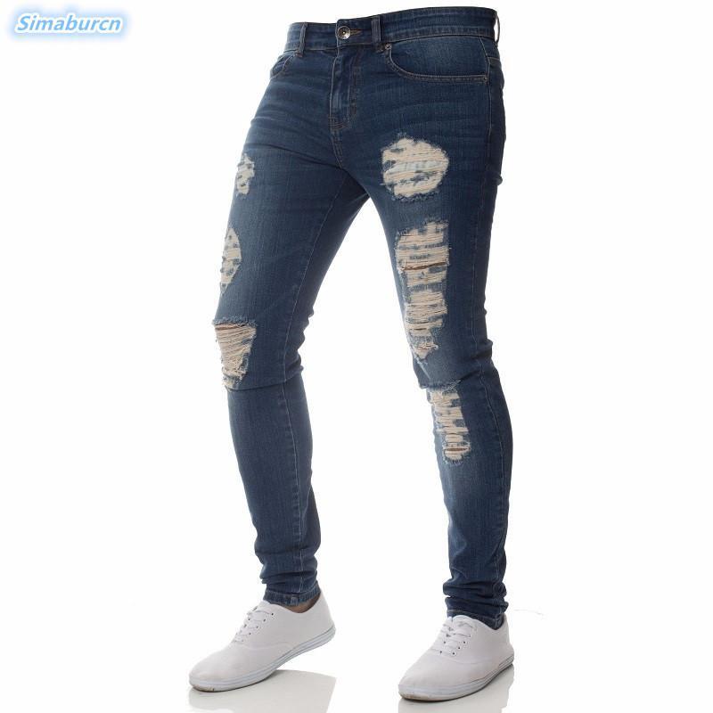 a45d3bc81 Compre Hombres De La Moda Delgado Jeans Flacos Arrugas En Rodilla Hip Hop  Lápiz Pantalones Cremallera Hombre Rasgado Agujeros Casuales Pantalones  Chico ...