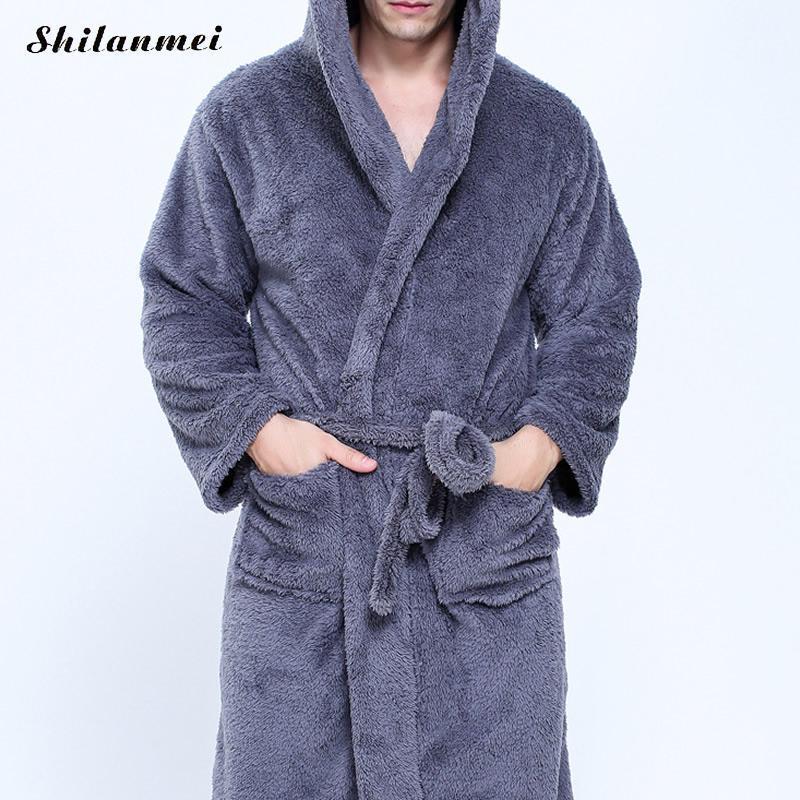 b248d3b41b Hot Sale Men Luxury Winter Bathrobe Mens Warm Silk Flannel Long Kimono Bath  Robe Male Bathrobes Navy Blue Night Dressing Gown UK 2019 From Redbud06