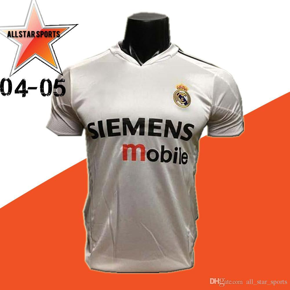 606307df1c339 Acquista 04 05 Real Madrid Soccer Jersey R.Carlos Zidane Raul Ronaldo Figo  Owen Guti Beckham 2004 2005 Vintage Footbal Shirts Soccer Kit A  20.31 Dal  ...