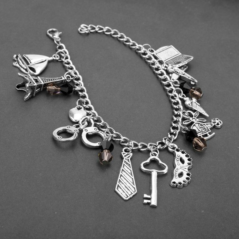 HANCHANG Fifty Shades of Grey Bracelets for Woman Masquerade Mask Eiffel Tower Charms Bracelet Fashion Jewelry