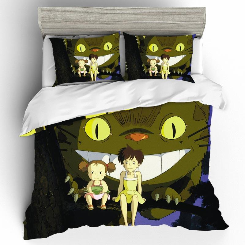 Duvet Cover King Size Bed Set Home Textiles High quality Cartoon Totoro 3D King Size Bedding Sets Bedclothes With Pillowcase Z