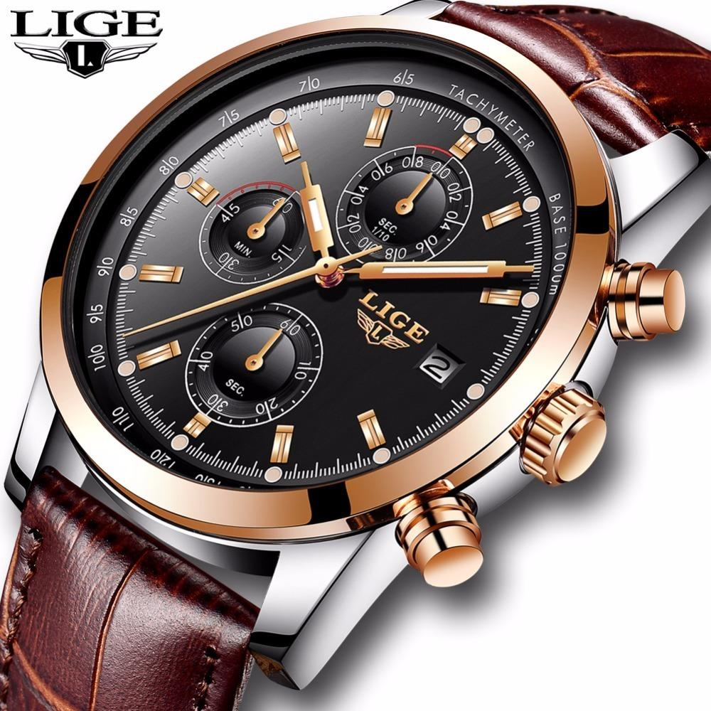 Lige Mens Watches Top Brand Luxury Leather Casual Quartz Watch Men Military Sport Waterproof Clock Gold Watch Relogio Masculino Y19051703