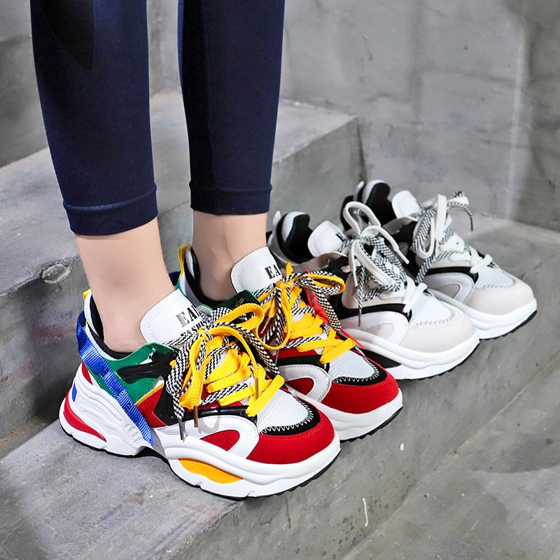 d6b92adb79 Weweya New Shoes Women Platform Clunky Sneakers Woman Colored Ribbons  Sports Shoes Height Increasing 6 CM Light Running