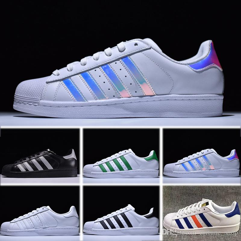 d46b4182566 Adidas Superstar 80s Barato Superstar Original Holograma Blanco  Iridiscentes Superestrellas Menores Zapatos Ocasionales Superestrellas  Mujeres Hombres ...