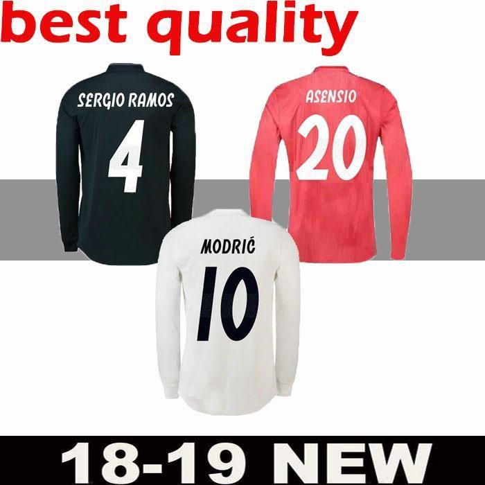 4851bcc19a772 18 19 Real Madrid Jugador Versión Camiseta De Manga Larga Champions League  Soccer Jersey 2019 Local RAMOS KROOS ISCO ASENSIO MODRIC MARCELO Fútbol Por  ...