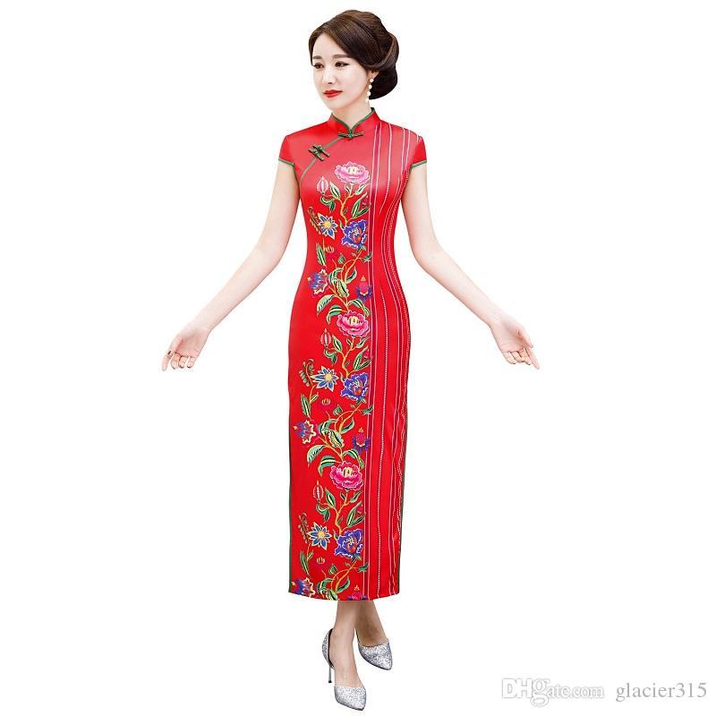 334cc895605b8f Shanghai Story 2019 Nouvelle Vente Tendance Nationale À Manches Courtes  Fleur Imprimer Qipao Faux Soie Cheongsam Robe Longue Robe Traditionnelle ...