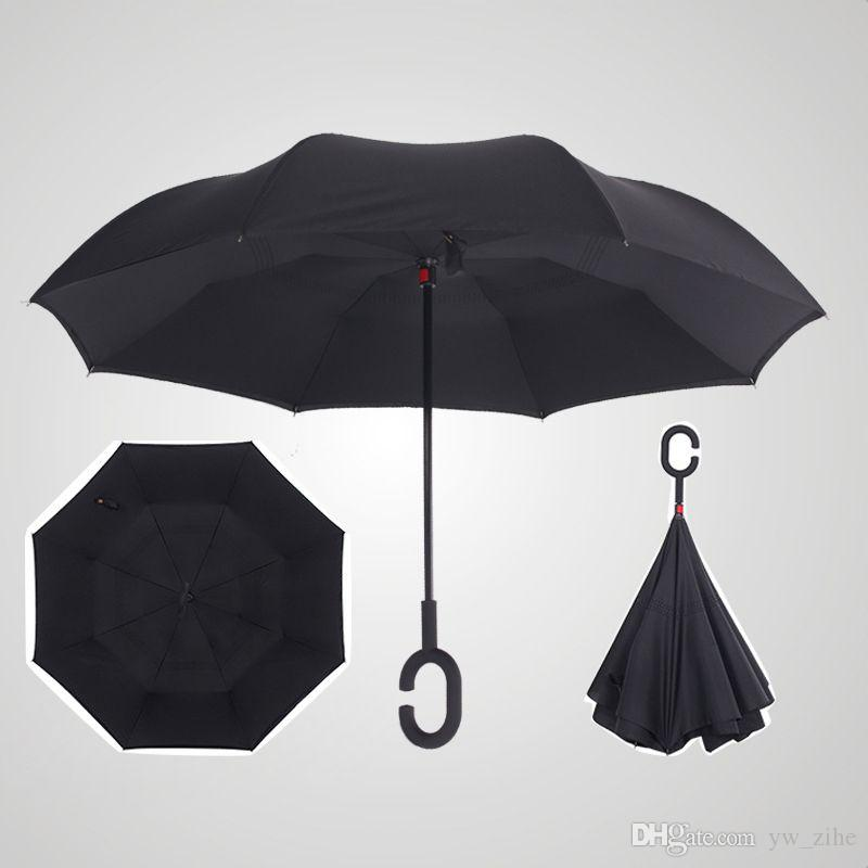 fabric reverse sunscreen UV umbrella reverse umbrella C-handleReverse Double Windproof Rain Umbrella For Dropsui0011