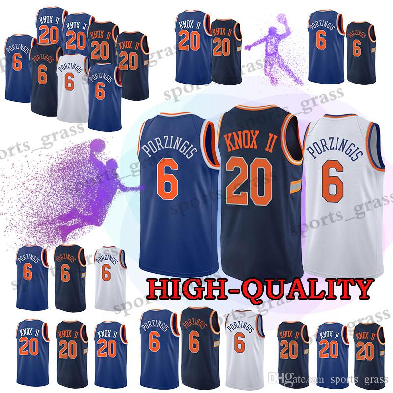 meet a6817 68b5d New York 20 Kevin Knox Jersey Knicks 6 Kristaps Porzingis Jerseys t shirt  Top quality promotion
