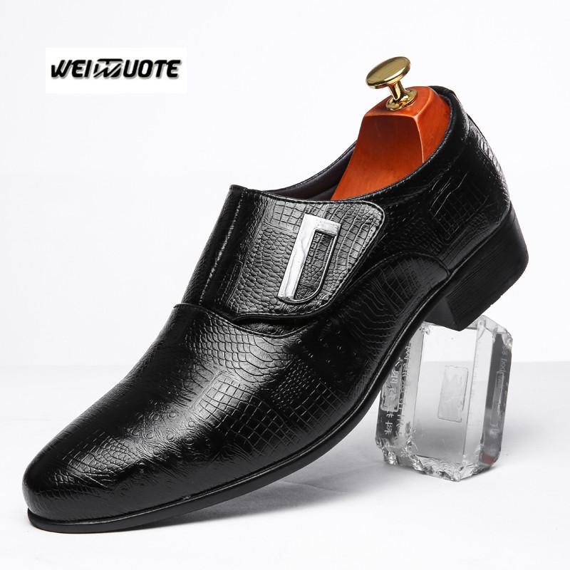 f6d3c9b46 Compre WEINUOTE Estilo Britânico Moda Masculina Sapatos De Couro Casual  Terno De Negócios Apontou Toe Sapatos Masculinos Vestido De Noiva Formal De  Lusta, ...