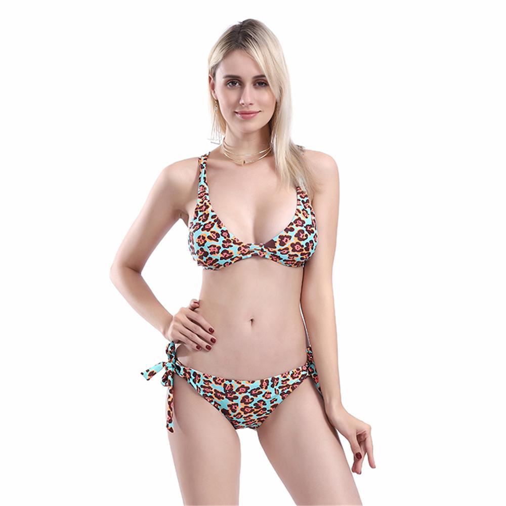 Schwimmen Leopard Tanga Badeanzug Frauen 2019 Sexy Bikini Set Print Push Up Bademode Weibliche Brazilian Bikini Set Biquini Badeanzug