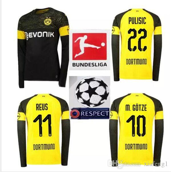 outlet store e3d84 4678f BVB 2019 Dortmund long sleeves Soccer Jersey Customized 18/19 REUS PULISIC  M.GOTZE KAGAWA WEIGL PHILIPP YARMOLENKO maillot de foot