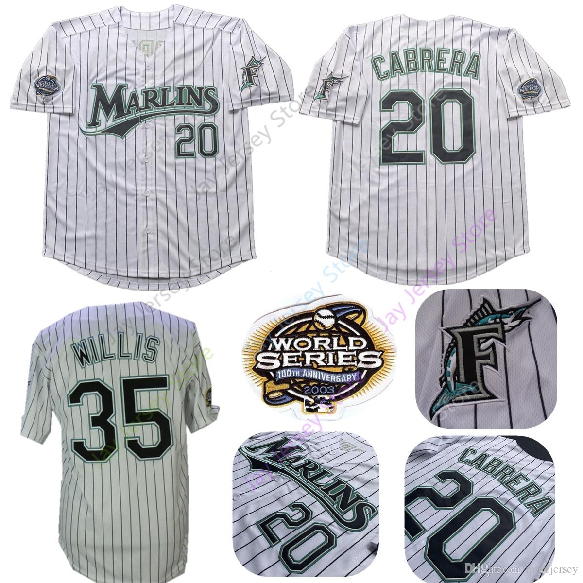 760f3e5b 2019 Dontrelle Willis Florida Marlins Jerseys 2003 WS World Series 20  Miguel Cabrera Jersey White Pinstripe Home Size M L XL 2XL 3XL From  Morejersey, ...