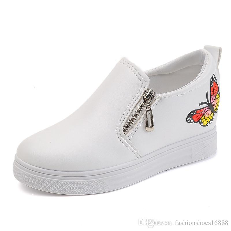 59435724504 Woman White Wedge Sneakers 2019 New Butterfly Embroidery PU Female ...