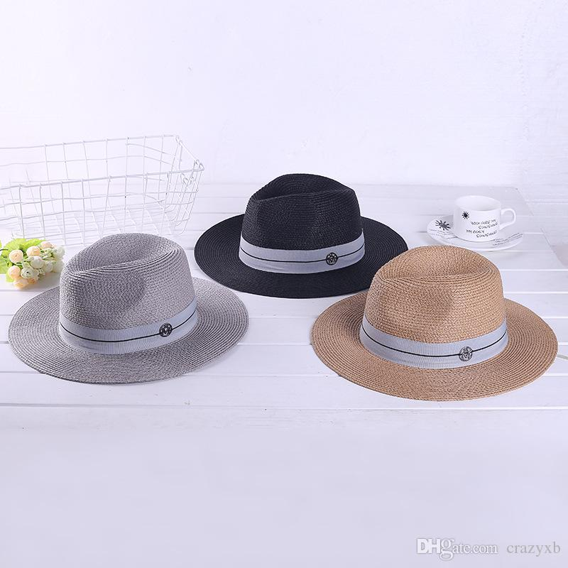 f51c51f5 Ymsaid Summer Casual Sun Hats For Women Fashion Letter M Jazz Straw For Man  Beach Sun Straw Panama Hat Wholesale And Retail Fedora Hats For Women Hat  Shop ...