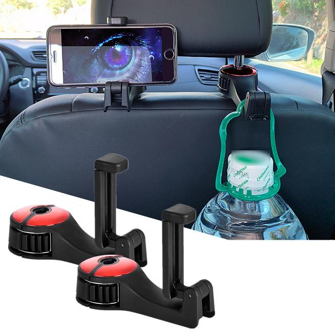 Car Hook Cell Phone Holder Multifunction Adjustable Car Headrest Hook Hanger With Lock for Holding Phones and Hanging Bag Purse Grocery