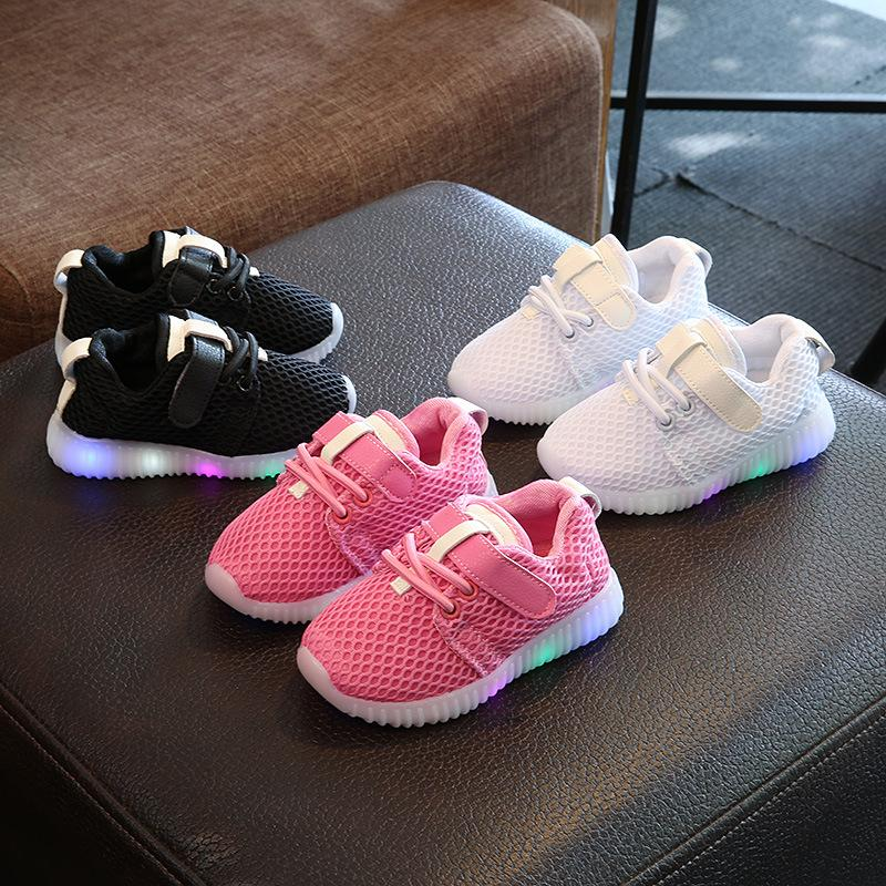 f4d73f76f19b 2017 Solid Color Sports Running Glowing Sneakers Mesh Cute Baby Kids Shoes  Hot Sales Children Casual Girls Boys Shoes Gym Shoes Girls Little Boys  Sneakers ...