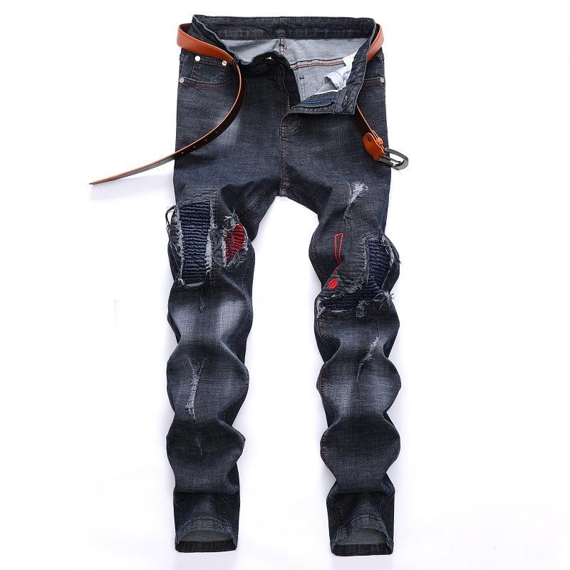 2019 Autumn and Winter New Jeans Men's Hole Motorcycle Pants Europe and The United States Trend Men's Jeans Kot Pantolon Erkek