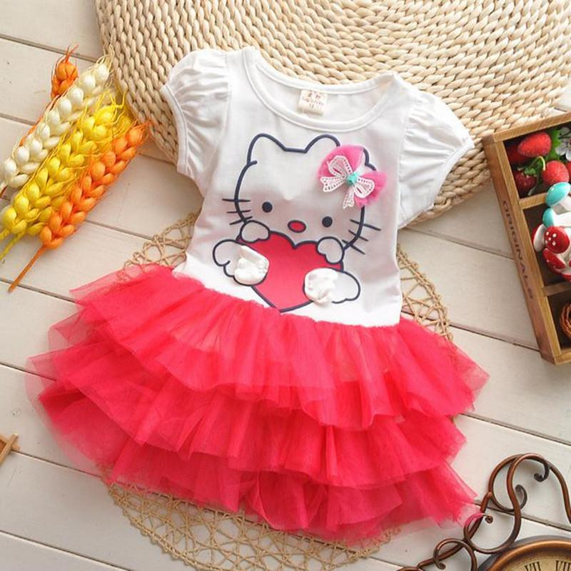 3ea363bc01 2019 2019 Summer Style Girls Dress Hello Kitty Cartoon KT Wings Tutu Dress  Bow Veil Kids Love Children S Clothing From Victorys01