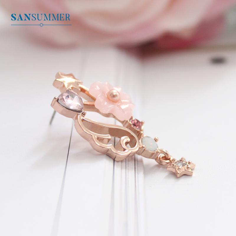 SANSUMMER Femmes Ensembles De Bijoux 2018 Nouvelle Fille Or Rose Bow Sakura Boucle D'oreille Collier Doux Belle Métal Femme Ensembles De Bijoux 5709