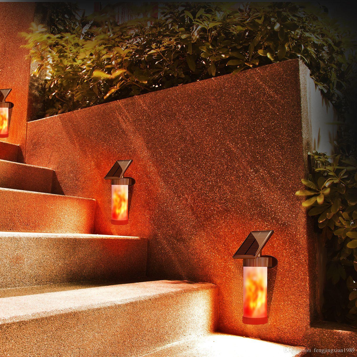 Solar Lamp Flickering Flames Torch Lights Solar Wall Lights IP65 Waterproof Warm White Night Light 102 LEDs Outdoor Decor Lamp